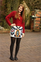 white tribal print Zara skirt - brick red Motel Rocks jumper