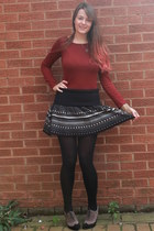 black Primark skirt - brick red new look top - dark khaki italian heels