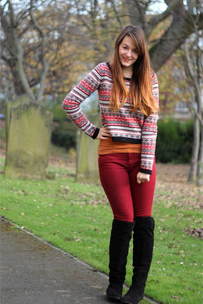 red fairisle Primark sweater - black over the knee George At Asda boots