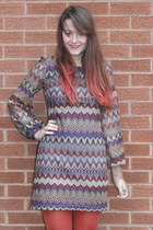 deep purple zig zag Primark dress - tawny new look tights