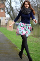 sky blue floral Matalan dress - navy H&M sweater - black woollen new look tights