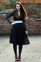 black lace midi asos dress - black M&S tights - silver Topshop belt