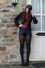 Black-matalan-shorts-black-new-look-cardigan-red-primark-t-shirt