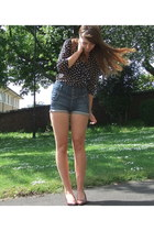 navy Topshop shorts - black polka dot Primark blouse - tawny granny shoes d vint