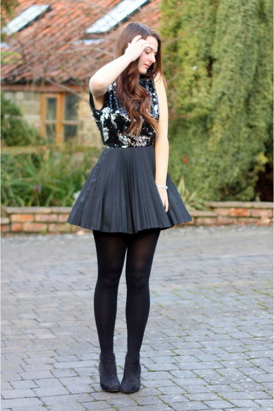 black heeled tesco boots - black sequin backless Jones & jones dress