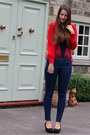Navy-topshop-jeans-red-new-look-cardigan-maroon-vedette-bodysuit