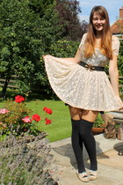 eggshell lace Primark dress - black underneath Republic dress - black H&M socks