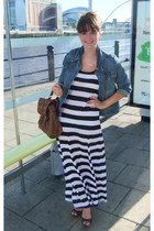 black striped maxi H&M dress - blue denim jacket Dorothy Perkins jacket - dark b