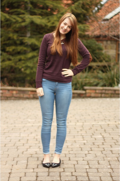 light blue Topshop jeans - brick red elbow patch Glamorous jumper