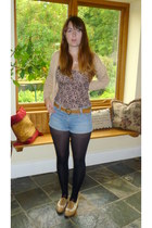 tawny brogues new look shoes - black M&S tights - blue denim La Redoute shorts -
