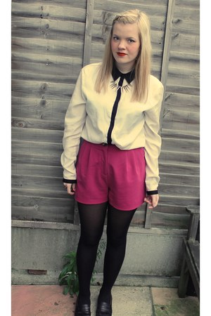 white unknown shirt - hot pink new look shorts - silver Topshop necklace