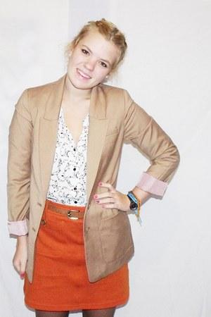 camel H&M blazer - white Dorothy Perkins shirt - carrot orange H&M skirt