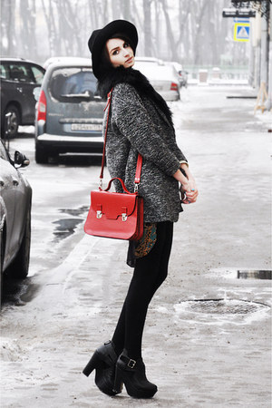 red leather leonid titow bag - charcoal gray tweed Topshop coat