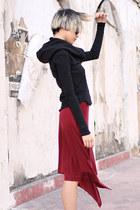 light brown ann demeulemeester boots - brick red McQ skirt - black Improvd hoodi
