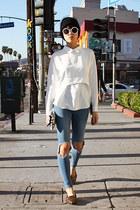 blue asos jeans - black DIY hat - white made in korea top