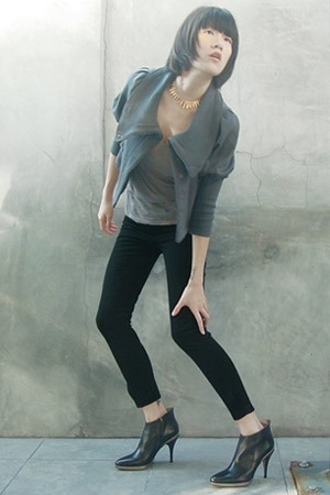 Nicholas K jacket - vintage necklace - Lucky Brand Jeans shirt - On Course pants