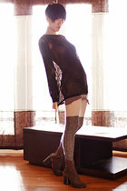 IAN sweater - RN Convertible dress - VPL stockings - Margiela boots