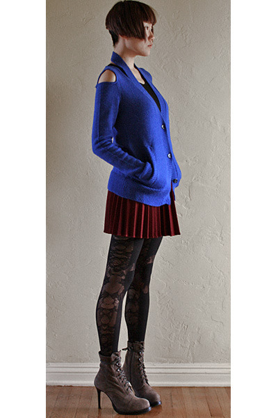blue Zero  Maria Cornejo cardigan - light brown ann demeulemeester boots