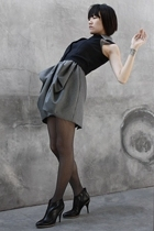 black Rose vest - black Hugo Boss boots - gray Nuj Novakhett dress