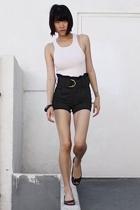 white Hanes top - black Mike & Chris shorts - black Cole Haan shoes - black Kolo