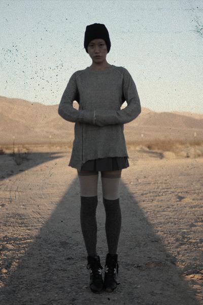 black ASOS x xs hat - charcoal gray VPL socks - charcoal gray Lands End skirt