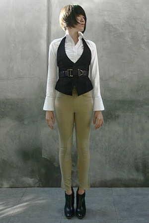 black Express vest - black Hugo Boss shoes - white Express shirt