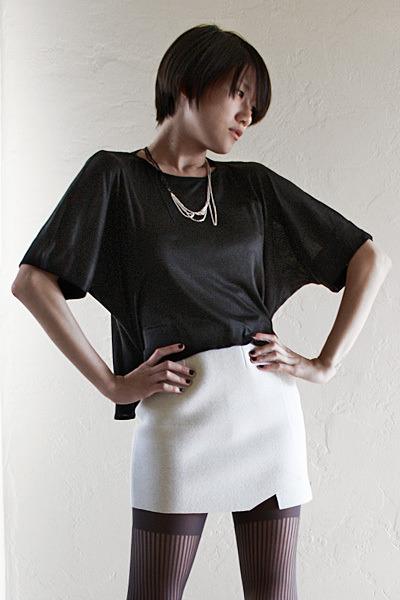 silver DIY necklace - black Kimberly Ovitz top - gray Hussein Chalayan skirt - g