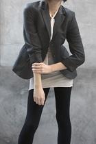 benetton blazer - humanoid shirt - American Apparel leggings - Cole Haan shoes