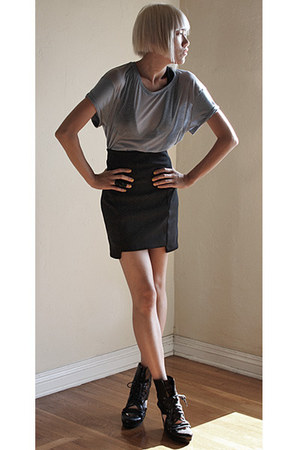 Y-3 wedges - Ksubi Devore Tits t-shirt - acne skirt - asos ring