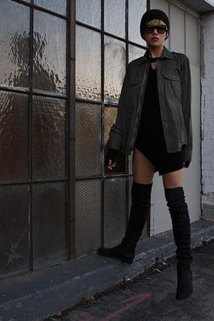 black LD Tuttle boots - black Alexander Wang dress - army green rag & bone shirt