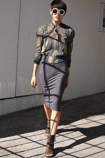 gray marsell boots - gray Enza Costa dress - army green Junya Watanabe jacket