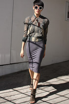 gray marsell boots - gray Enza Costa dress - army green Junya Watanabe jacket