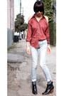 Red-vintage-shirt-black-rachel-comey-boots-light-blue-r13-jeans