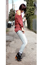 Black-rachel-comey-boots-light-blue-r13-jeans-red-vintage-shirt