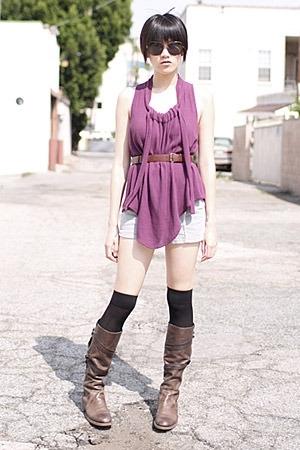 Rachel Comey top - Rachel Comey belt - American Apparel shorts - LD Tuttle boots