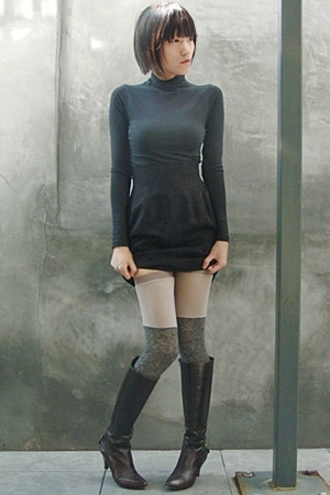 vince top - Richard Tyler skirt - VPL stockings - Miss Sixty boots