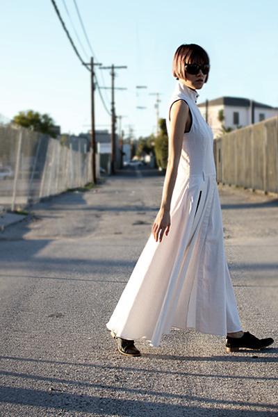 white Antipodium dress - black Jil Sander flats