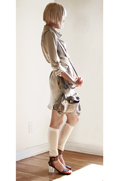 silver Theyskens Theory purse - beige Mike & Chris dress - beige falke socks