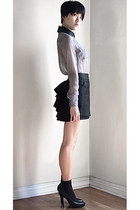 black asos socks - black Equipment blouse - black bird by juicy couture skirt