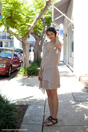 heather gray acne dress - navy benah sandals