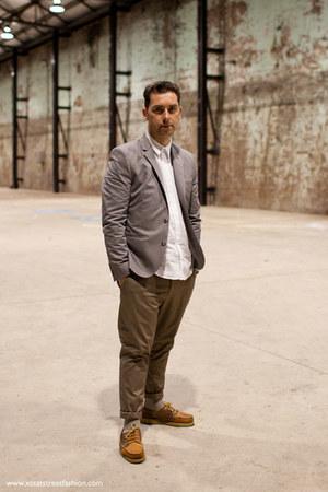 heather gray asos jacket - white asos shirt - olive green asos pants