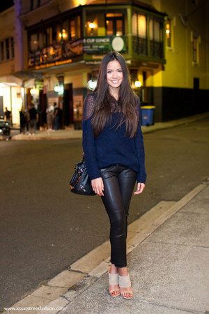 black leather balenciaga bag - navy knit Topshop jumper