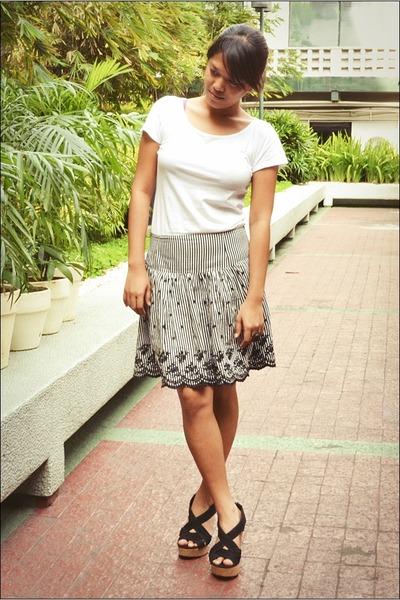white shirt - black skirt - black cork Forever21 wedges
