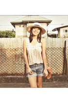 eggshell local Bazaar hat - tawny leather bought in Indonesia bag - blue denim s