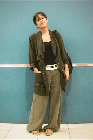 army green dolman sleeve Forever21 coat - olive green bell thrifted pants
