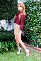 crimson chiffon American Apparel blouse - beige cutoff Levis shorts