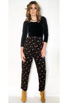 black floral print vintage pants