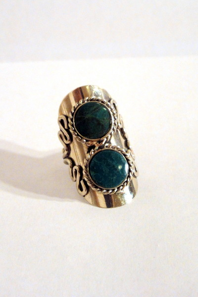 teal faux stone vintage ring