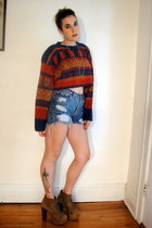 ruby red cropped vintage sweater - tan lita Jeffrey Campbell boots