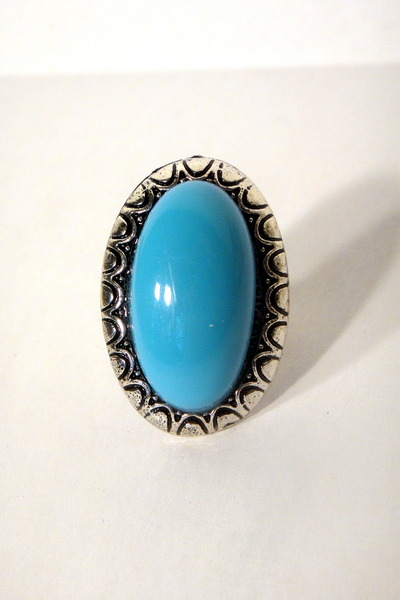 Light Blue Cocktail Vintage Ring